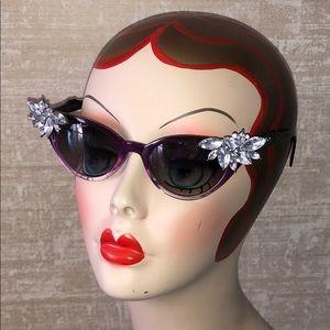 HP OOAK Cat Eye Retro Pinup Rhinestone Sunglasses